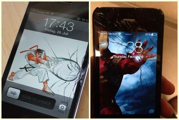 Nghệ thuật với chiếc điện thoại vỡ màn hình ngoài :v