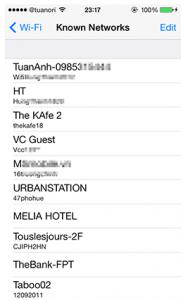 danh sách Wifi đã truy cập vào iPhone