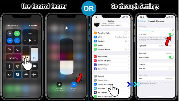 Tắt bỏ tính năng True Tone trên iphone 11 pro max