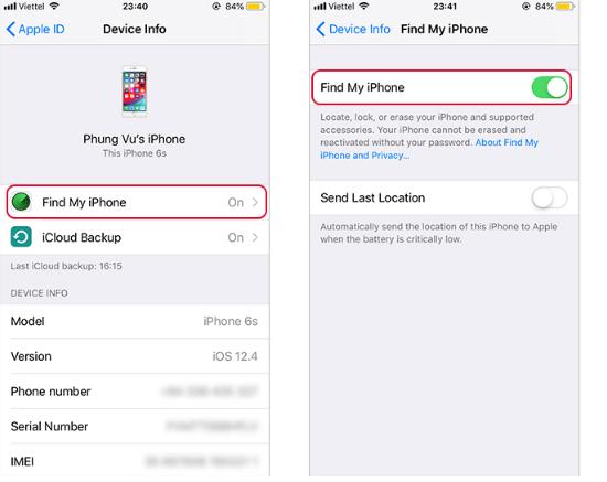 cách định vị iPhone tháo SIM