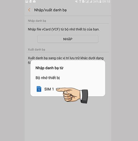 Chuyển danh bạ từ SIM qua máy