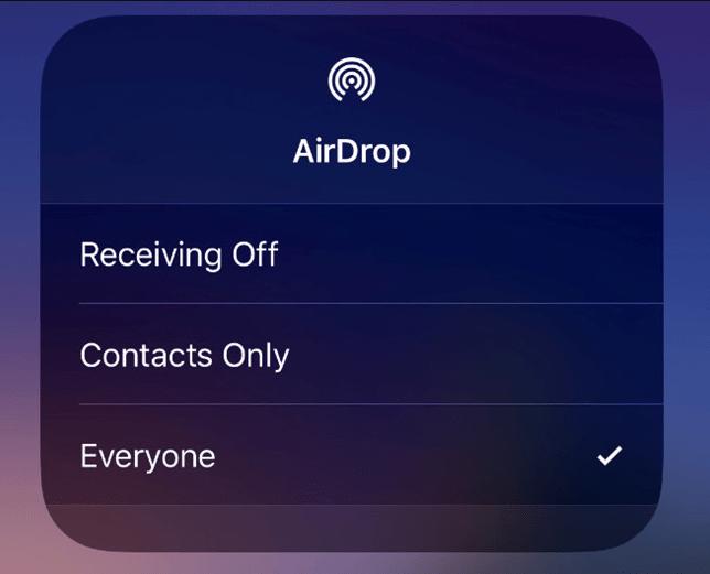 Airdrop không tìm thấy người nào