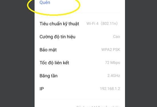 Kết nối lại wifi